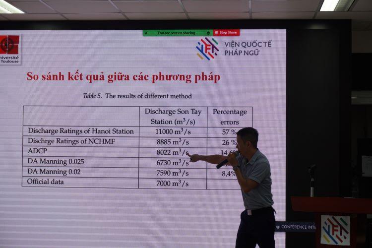 Ông Nguyễn Thành Đôn, Viện Quốc tế Pháp ngữ (IFI) với tham luận Phương pháp tiềm năng để nghiên cứu độ chính xác của lũ quét.